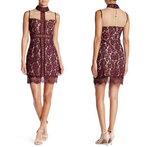 Meghan LA burgundy lace choker dress